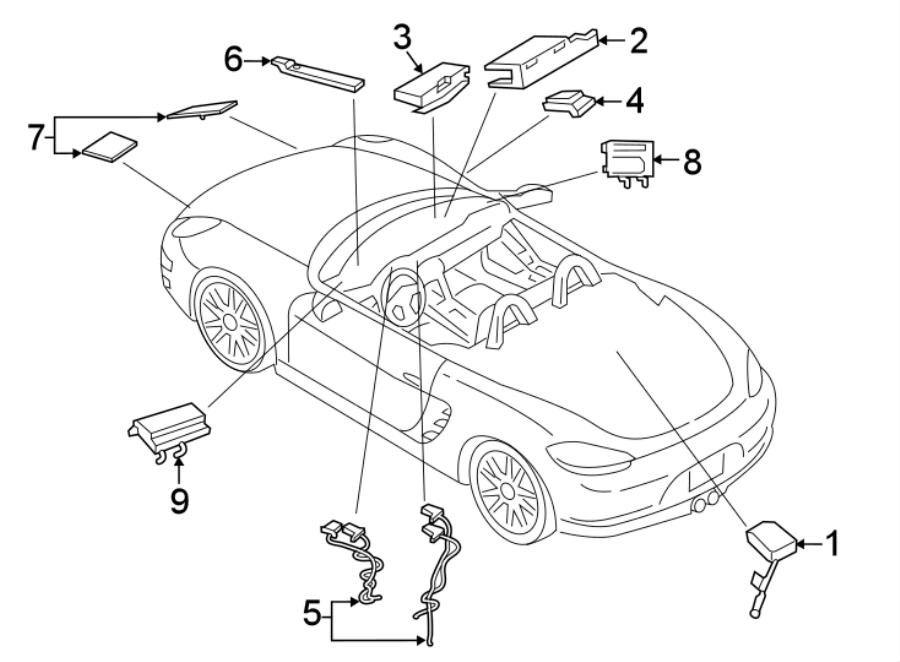 Porsche 718 Boxster Mobile Phone Antenna. Satellite Radio