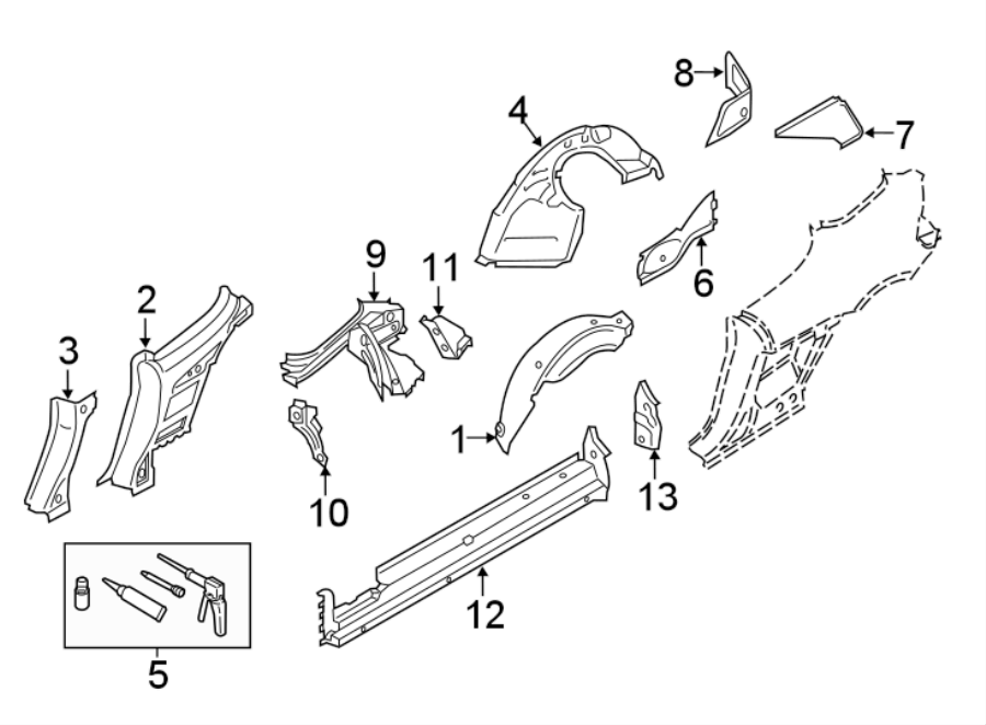 Porsche 718 Boxster Adhesive kit. Apron assy adhesive kit