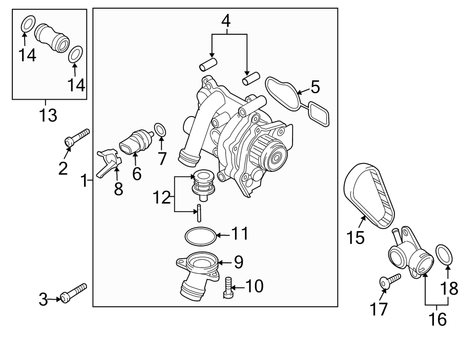 2015 Volkswagen Engine Water Pump Assembly. REGULATOR