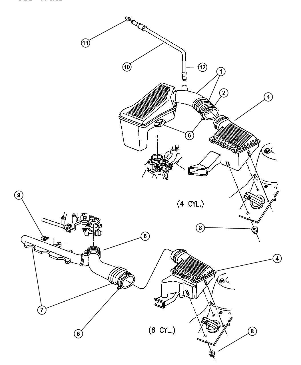 Dodge Stratus Element. Air cleaner. Engine, filter