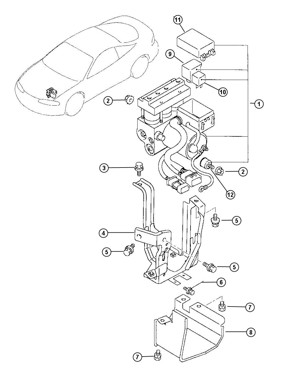Chrysler Sebring Modulator. Anti-lock brake system