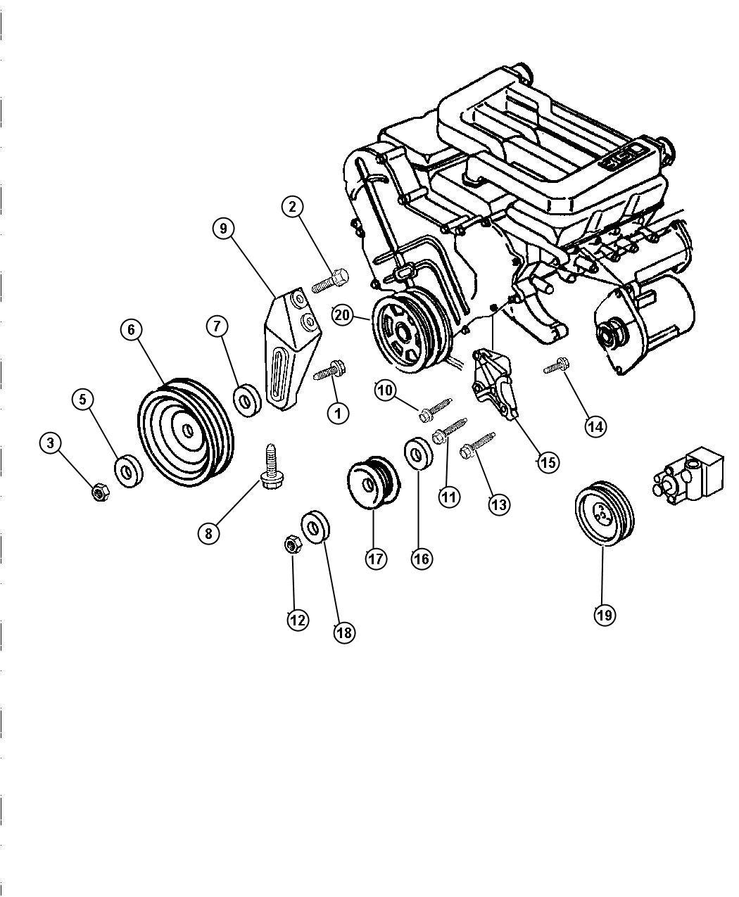 Chrysler LHS Bushing. Idler pulley. Belt tensioner pulley