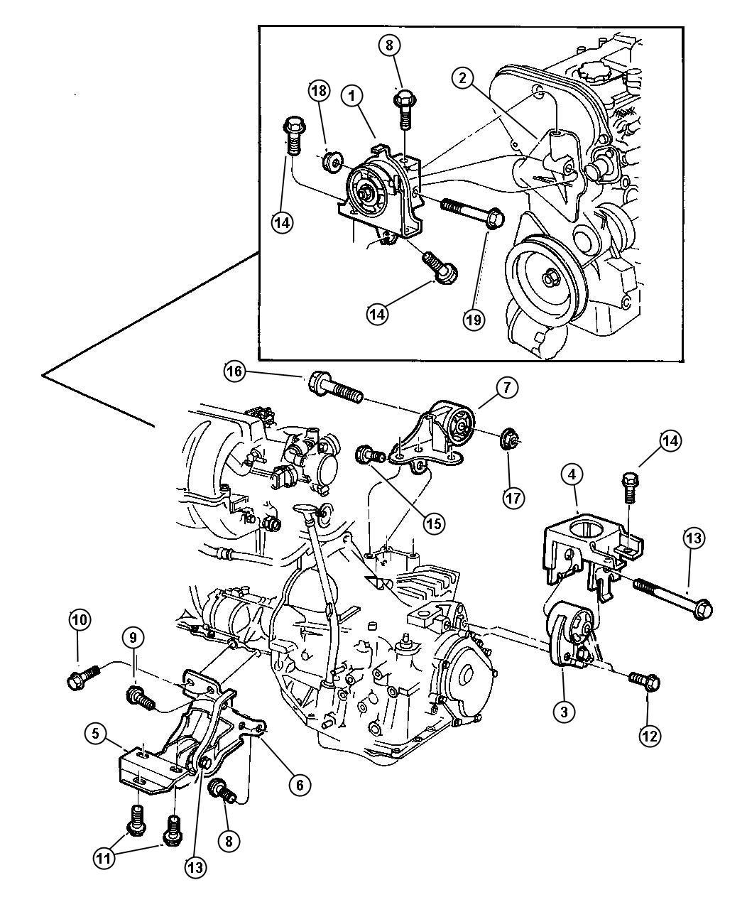 Dodge Caravan Support. Engine mount. Right. Engine mount
