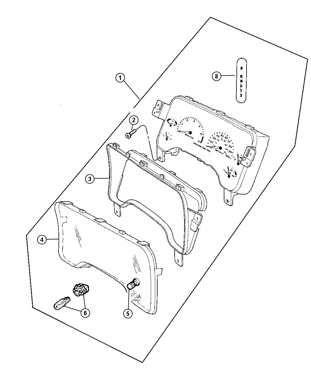 Dodge Dakota Indicator. Gear selector, prndl. Automatic