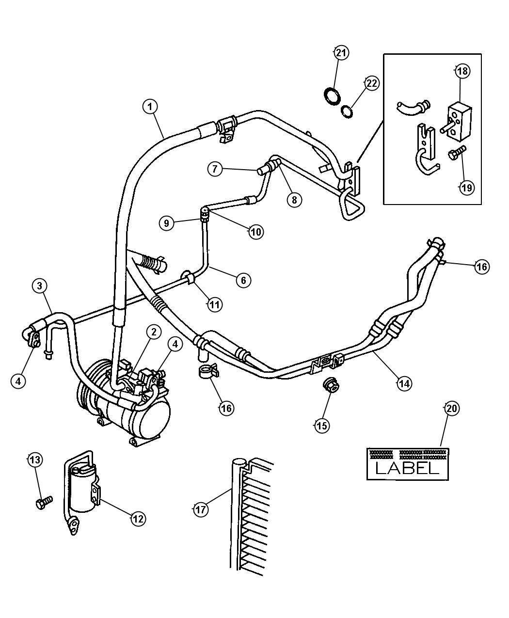 Dodge Grand Caravan O ring. A/c line, a/c suction line
