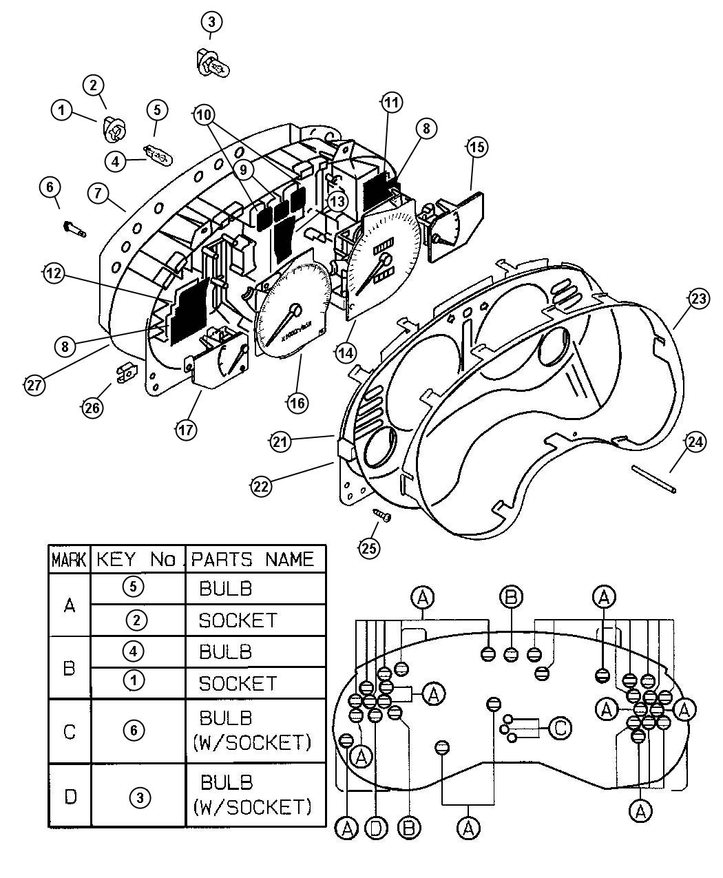 Chrysler Sebring Nut. Spring. Cluster, instrument, panel
