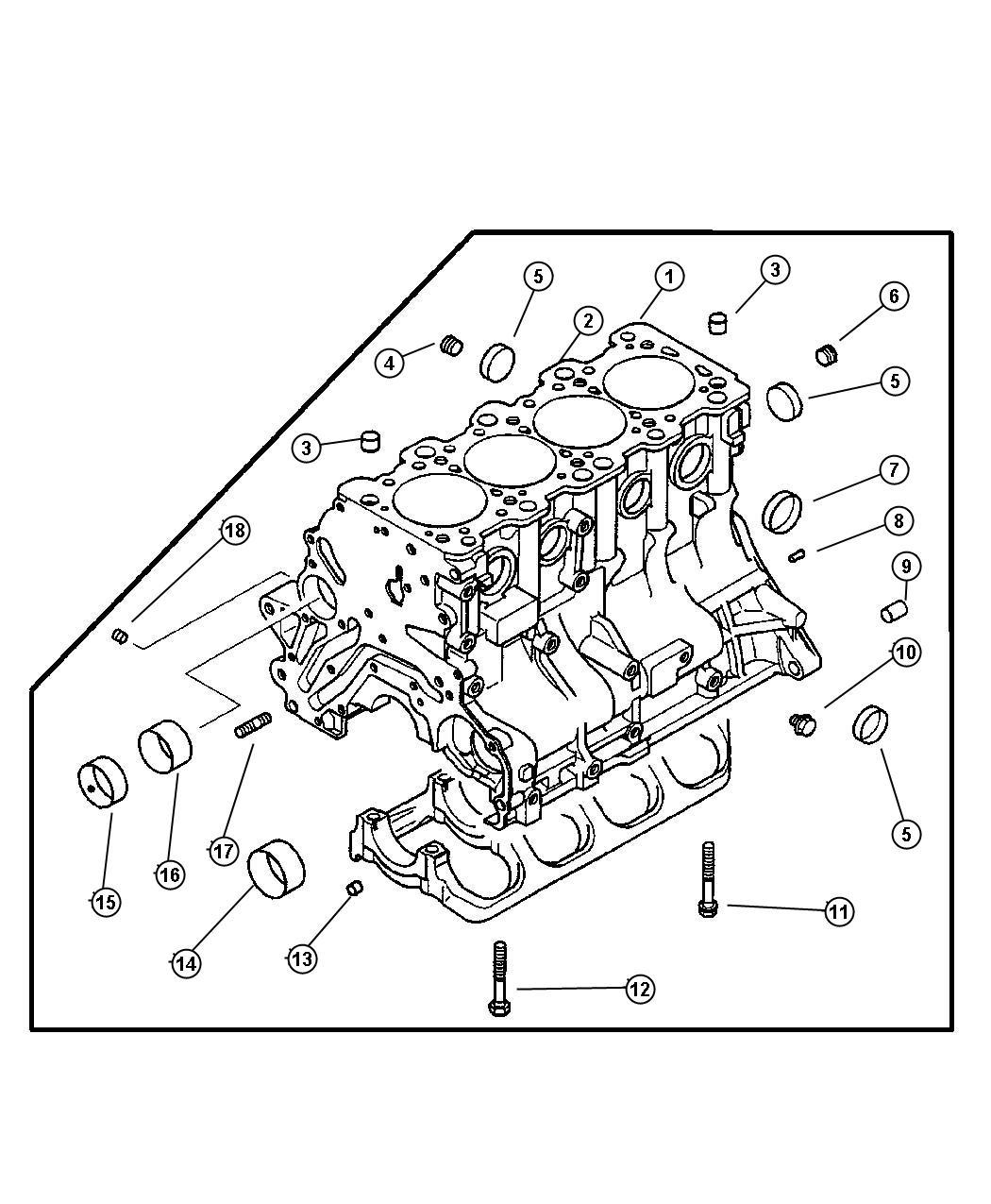 Dodge Stratus Bolt. Main bearing cap. Block, cylinder