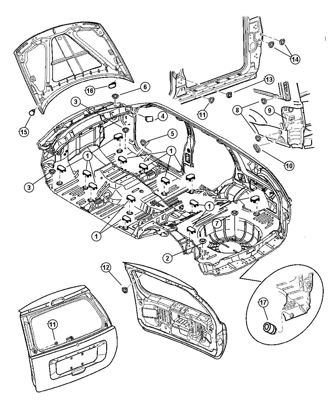 Jeep Grand Cherokee Plug. Body, rear fascia. Aperture