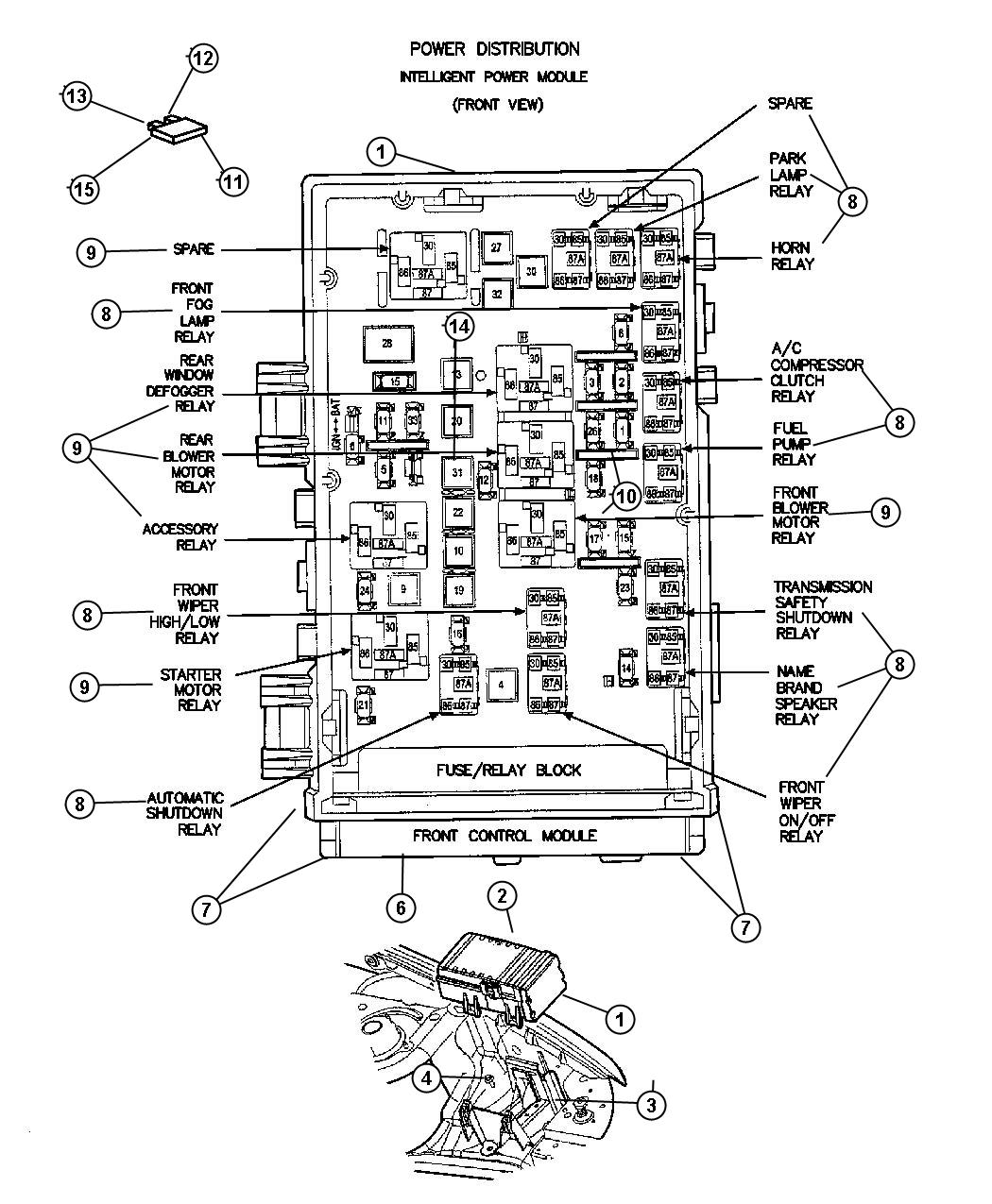 Dodge Caravan Relay. Radiator fan. Located on bumper beam