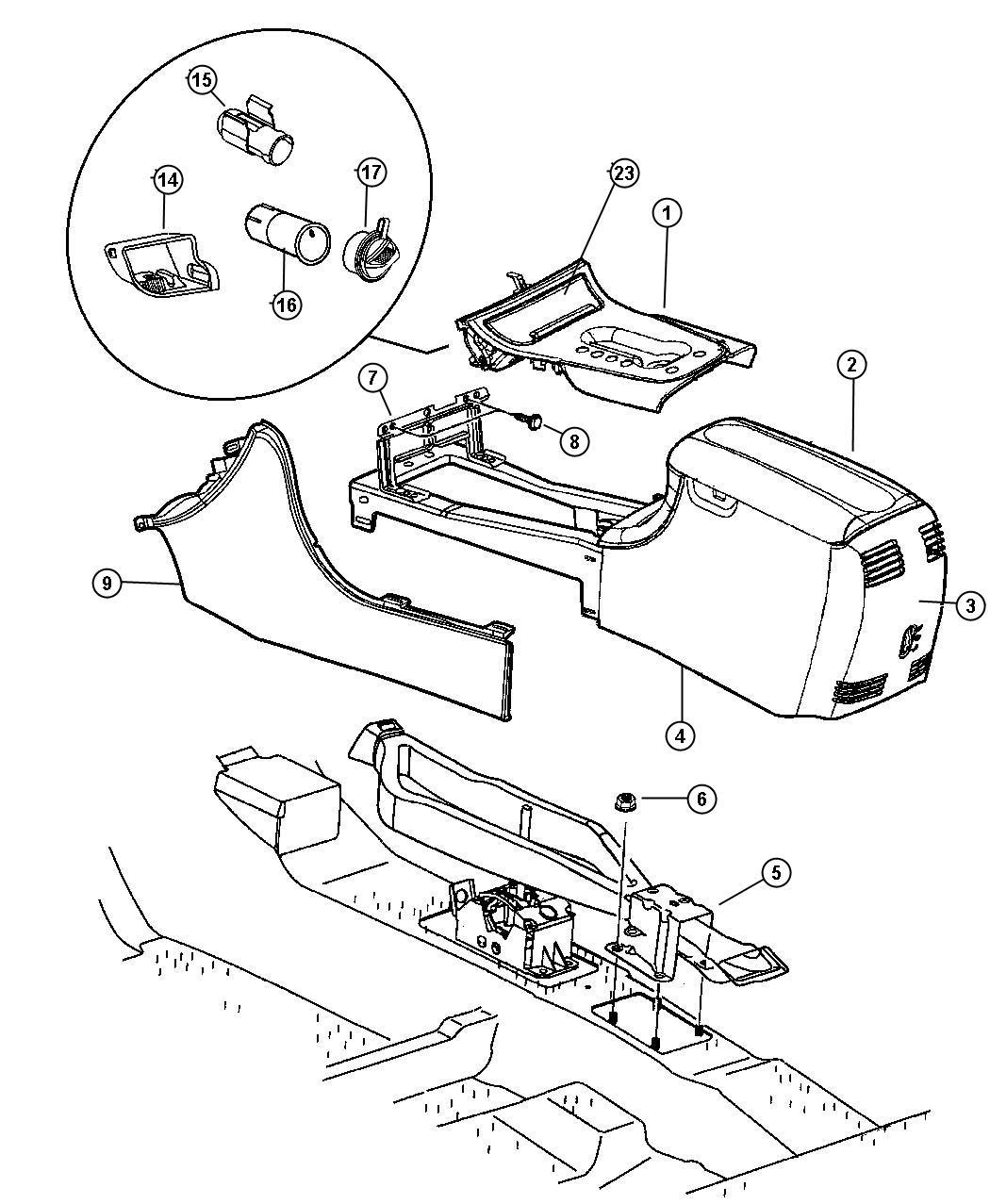 2002 Chrysler 300 Hood. Ash receiver lamp. Hood assembly