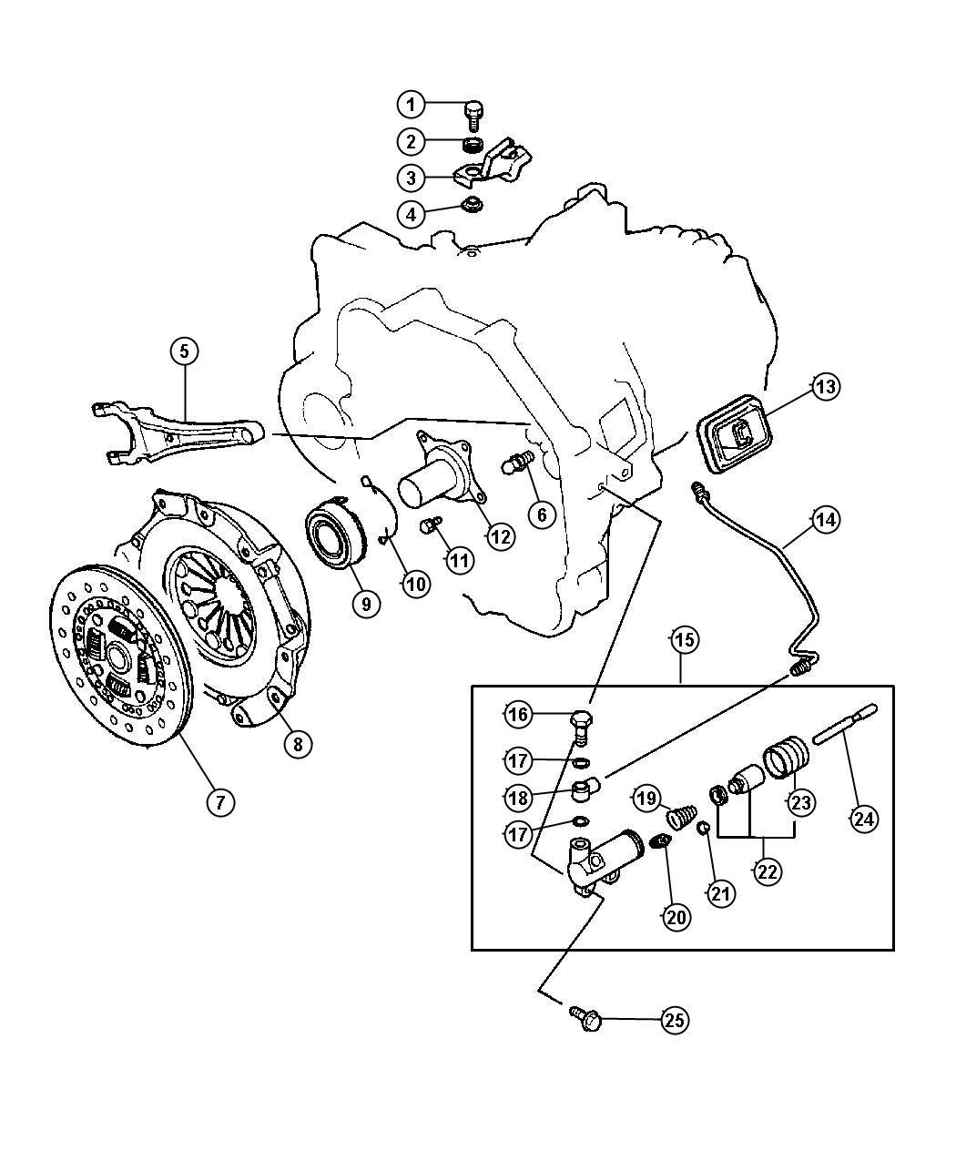 Dodge Stratus Bolt. Cylinder, hydraulic, controls