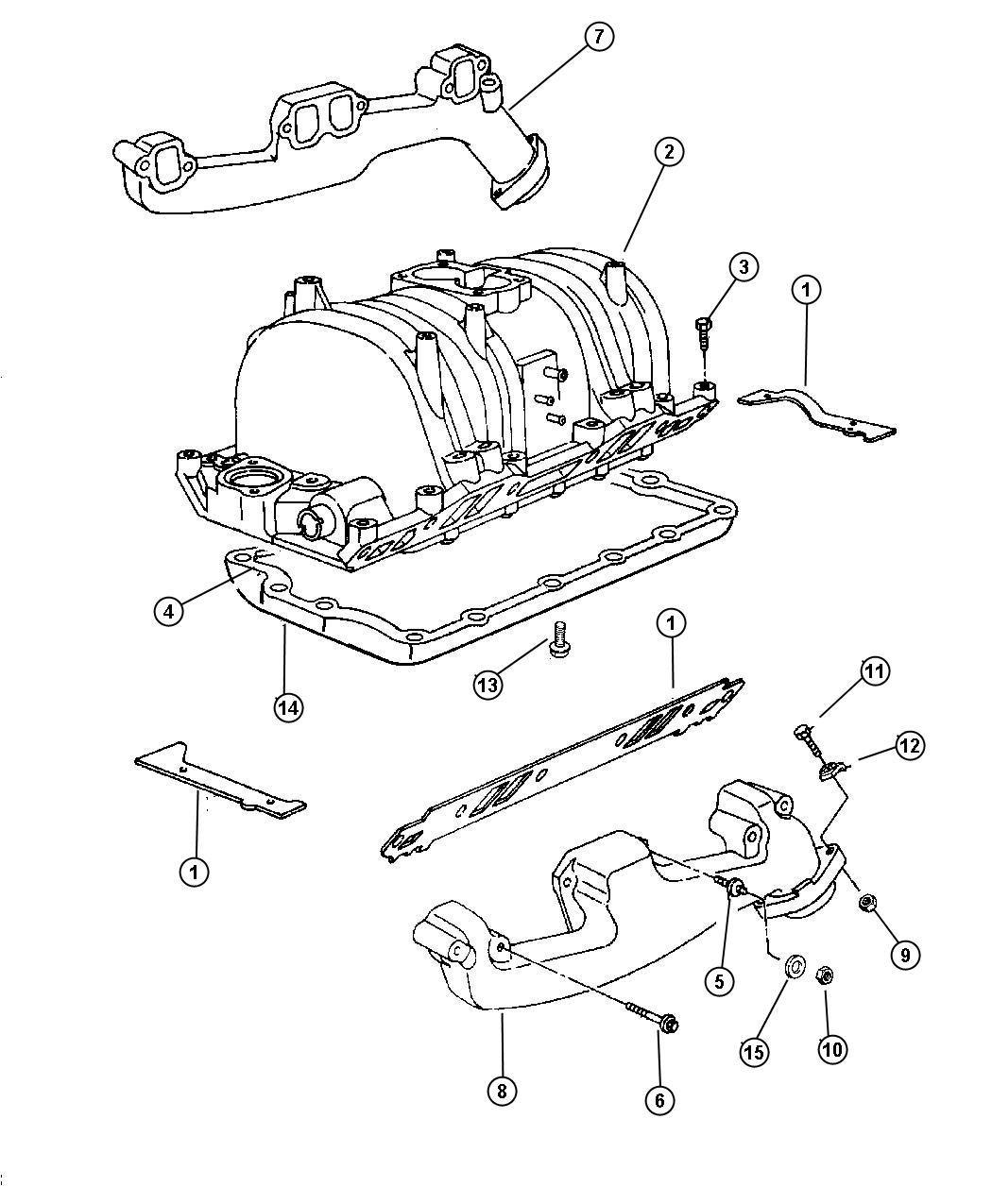 Dodge Ram 2500 Gasket package. Intake manifold. Exhaust
