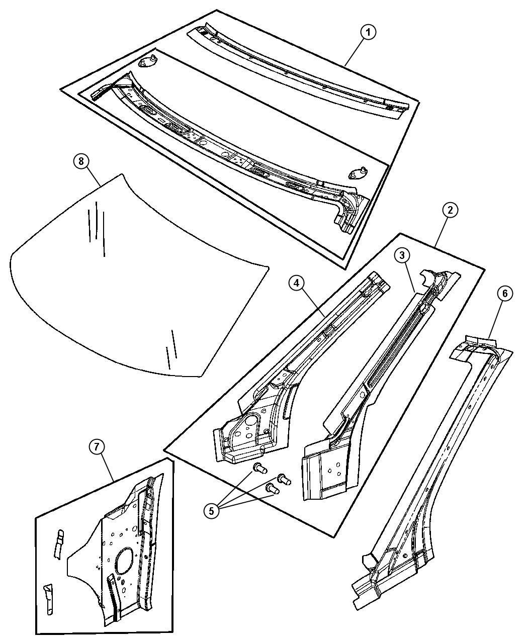 Chrysler Sebring Frame, frame package. Windshield header