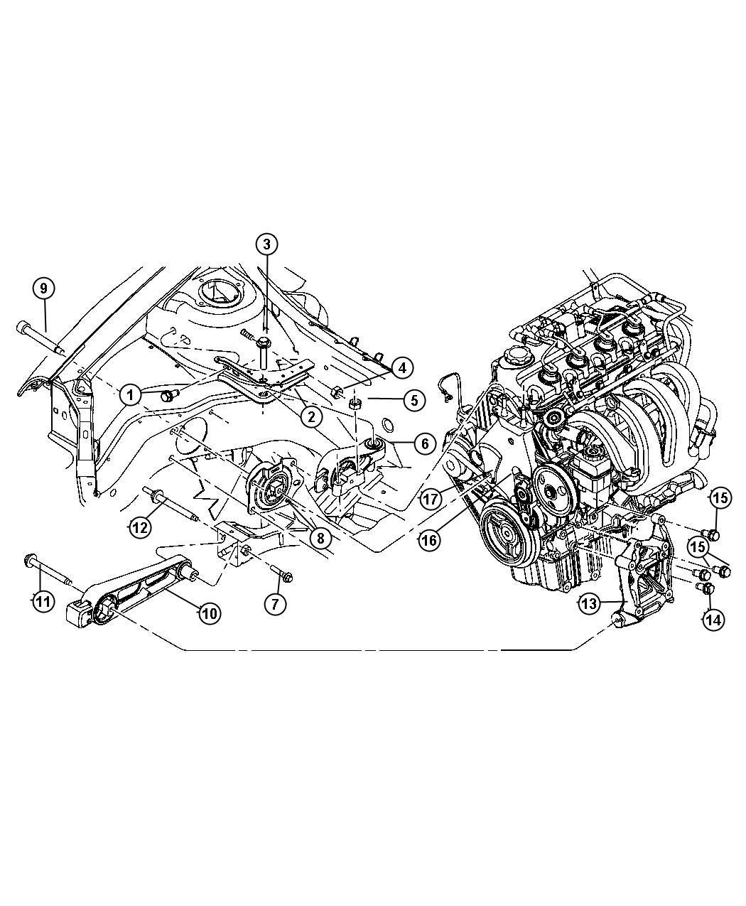 Dodge Neon Isolator, strut. Engine mount, torque reaction