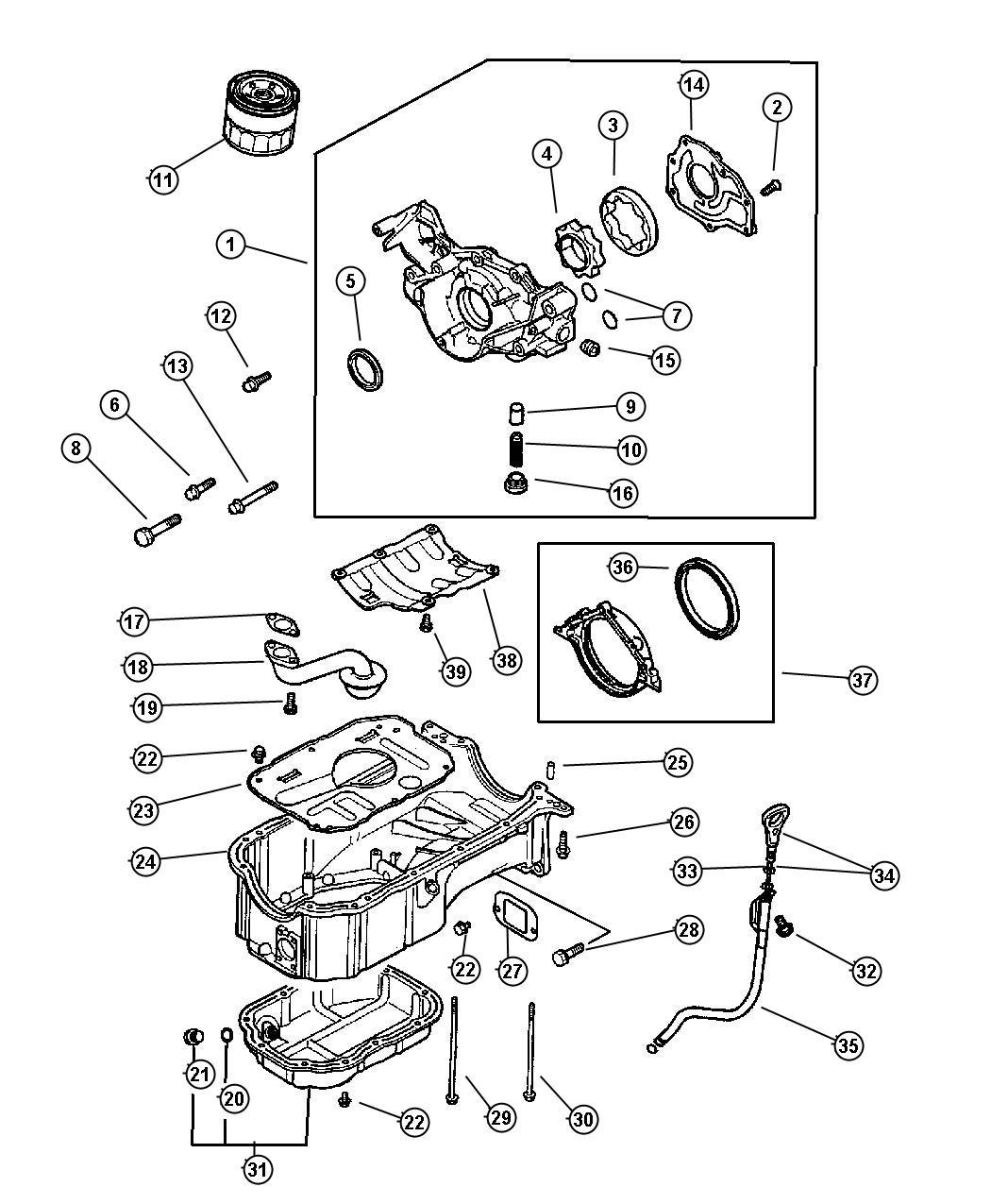 Chrysler Sebring Gear. Oil pump driven. Engine, oiling