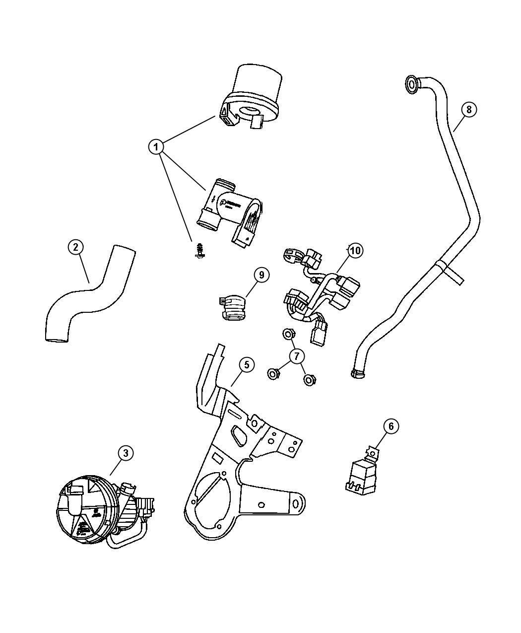 Dodge Stratus Tube. Air injection. Air pump to check valve