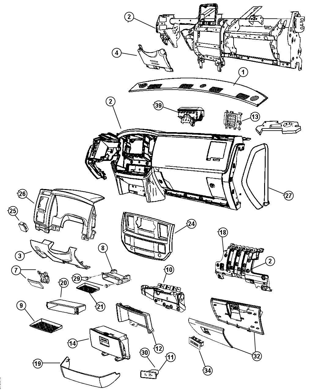 Dodge Ram Bezel Instrument Panel Center Trim