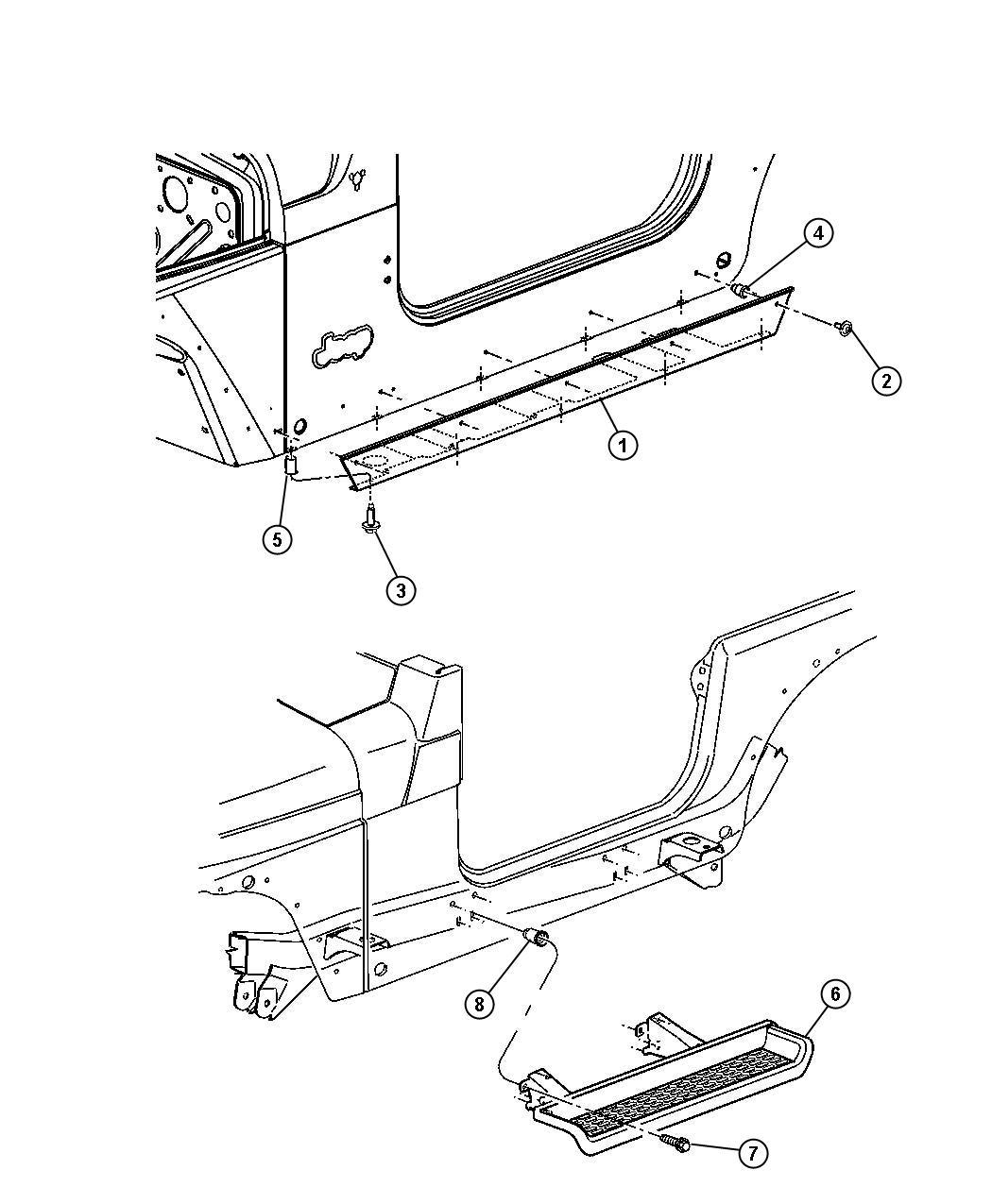 Jeep Wrangler Step pad. Side step. Left. [bodyside side