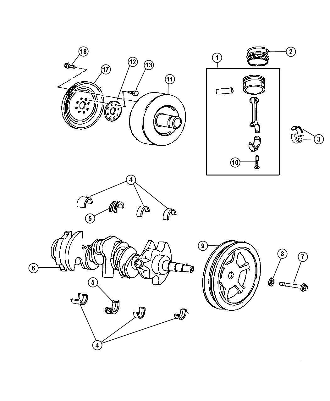Chrysler Pacifica Crankshaft Engine Ohv Pistons