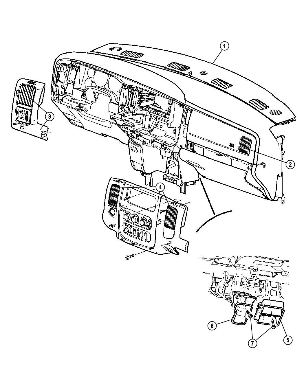 1998 Dodge Ram 2500 Bezel. Instrument panel. Center. Trim
