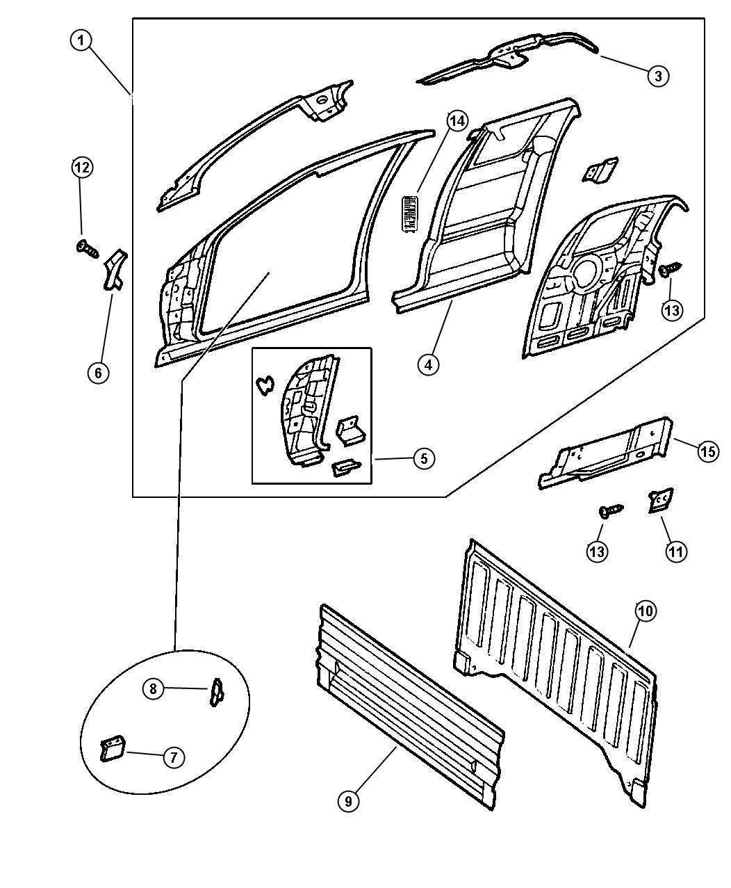 Dodge Dakota Panel. Body side aperture, body side aperture