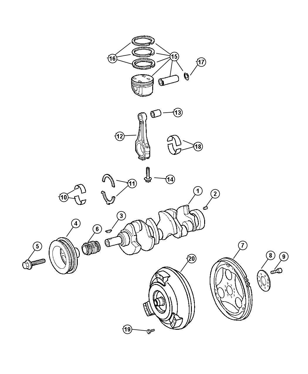 Chrysler Crossfire Dowel, dowel pin. Diesel, crankshaft