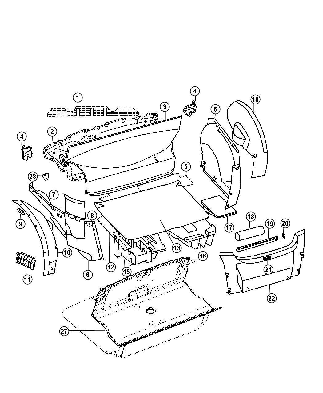 Chrysler Crossfire Ring. Trim. Inner. Rear, compartment