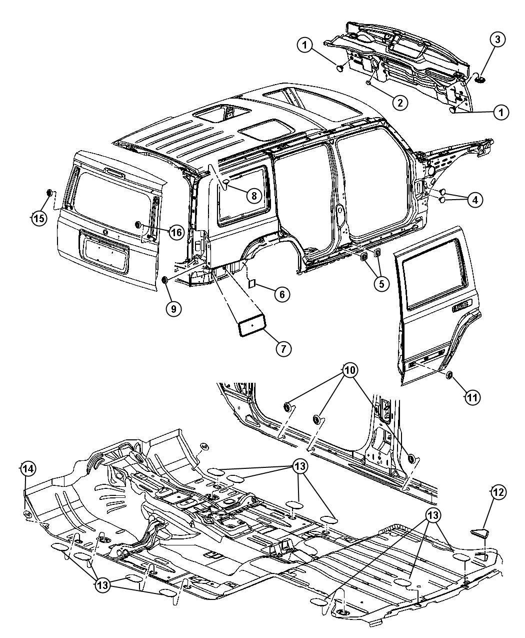 Jeep Commander Plug. Body, rear fascia. Aperture panel