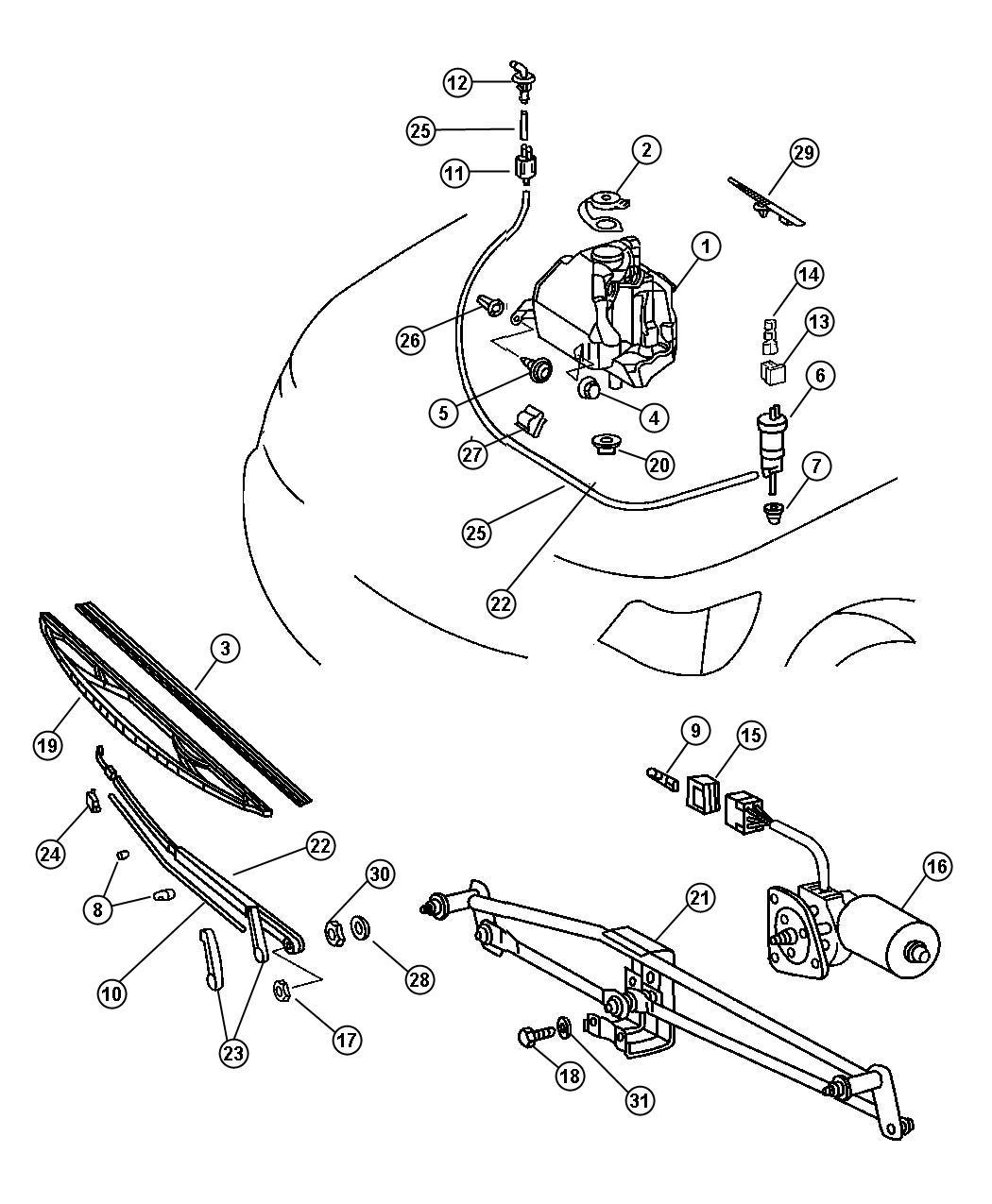 Dodge Sprinter Grommet Windshield Washer Pump