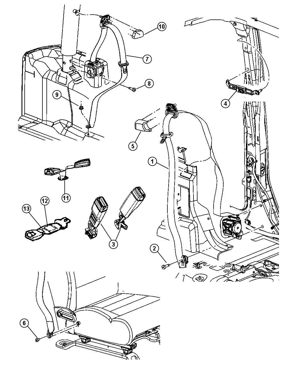 Jeep Wrangler Nut Body Rear Belts