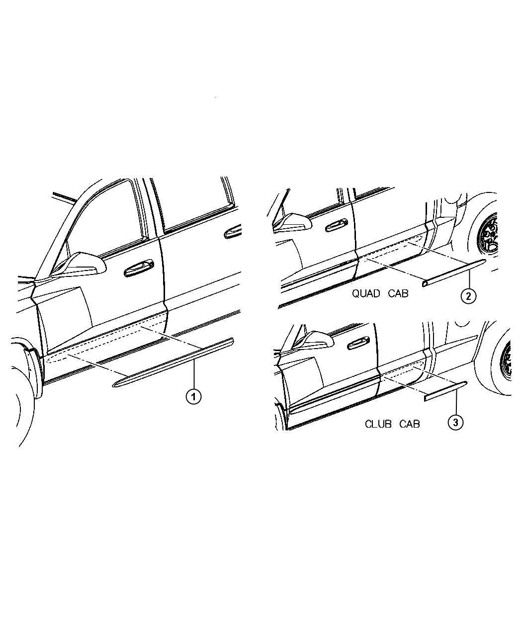 Dodge Dakota Molding. Rear door. Quad. [stripe/badge