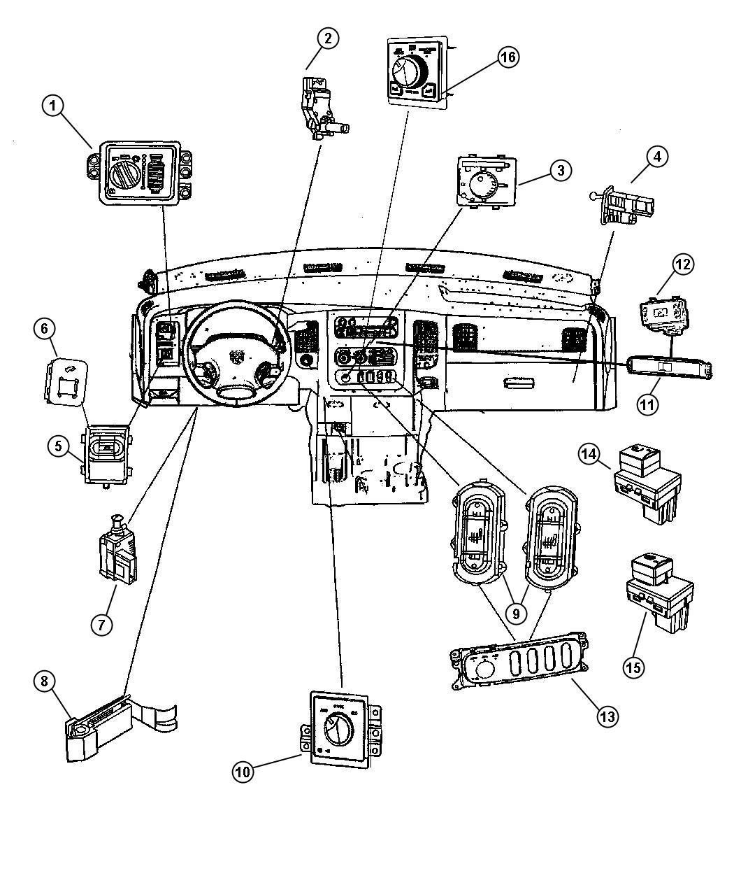 Dodge Ram 2500 Switch. Ignition. Column, steering, tilt