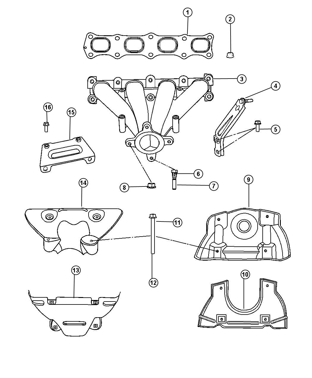 Jeep Patriot Shield. Exhaust manifold, heat. Lower. Fwd