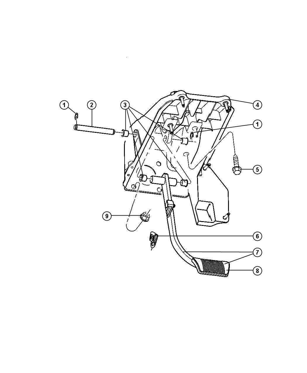Chrysler Aspen Snap ring. Pedal shaft, vacuum motor