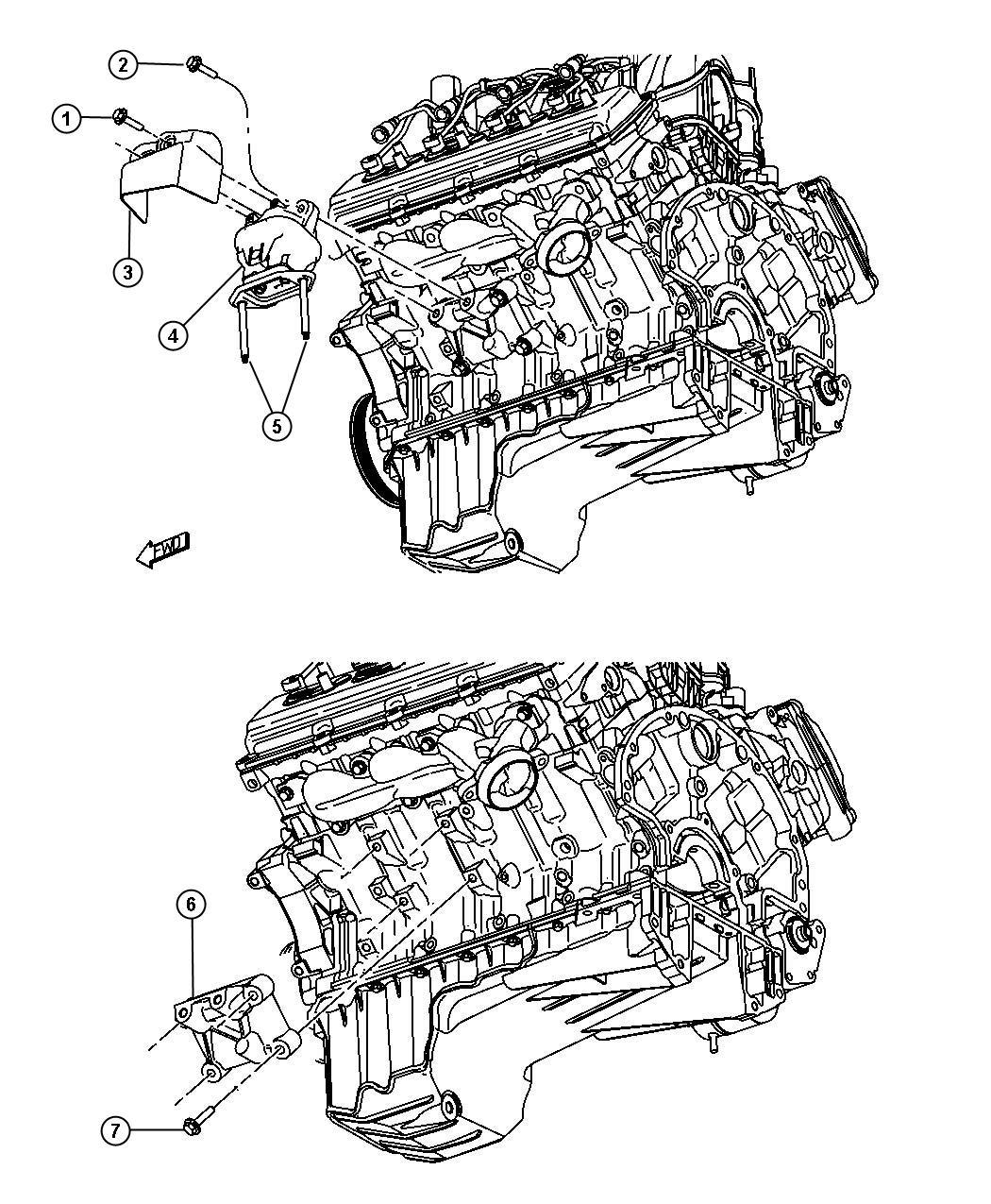 Chrysler 300 Cushion. Engine support. Left, right. Hemi