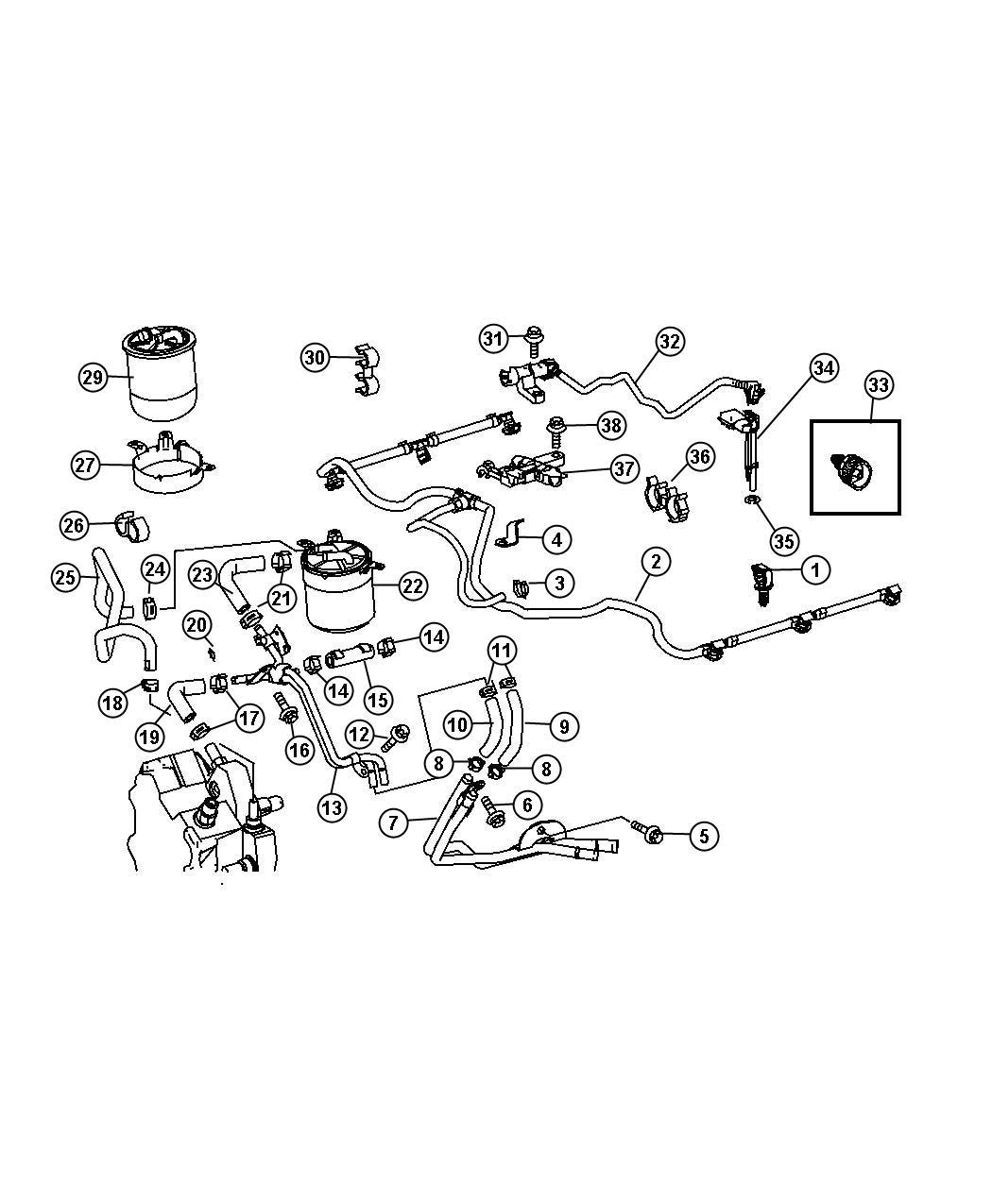 Dodge SPRINTER Hose. Fuel. Separation point for filter