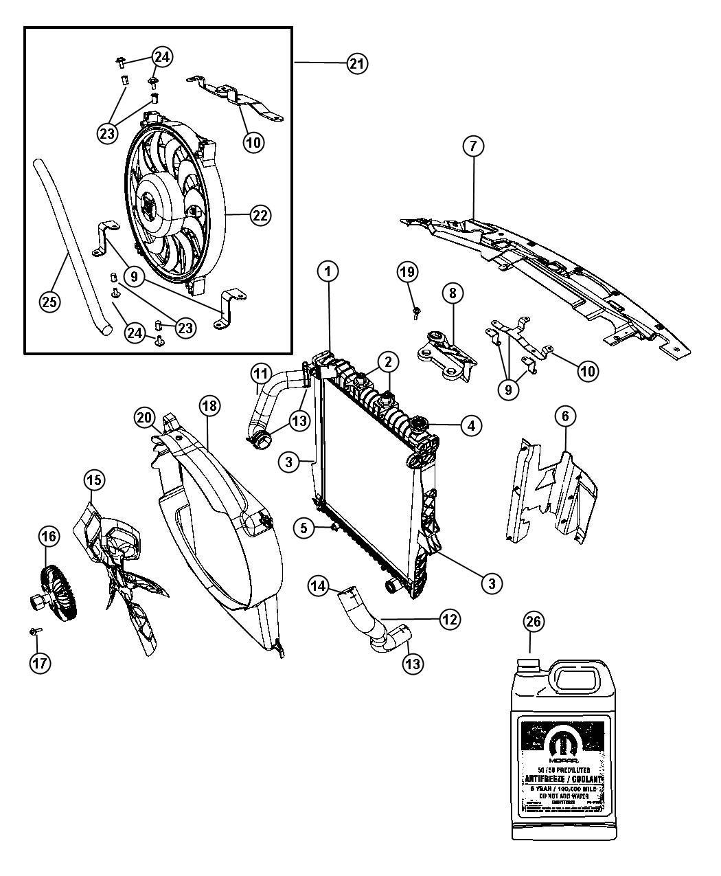 Dodge Durango Fan module package. Radiator cooling