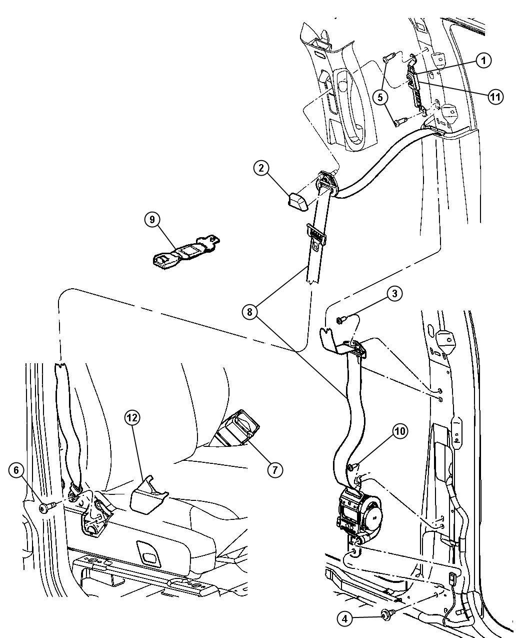 Dodge Durango Cover. Seat belt anchor. Left. [dk khaki/lt