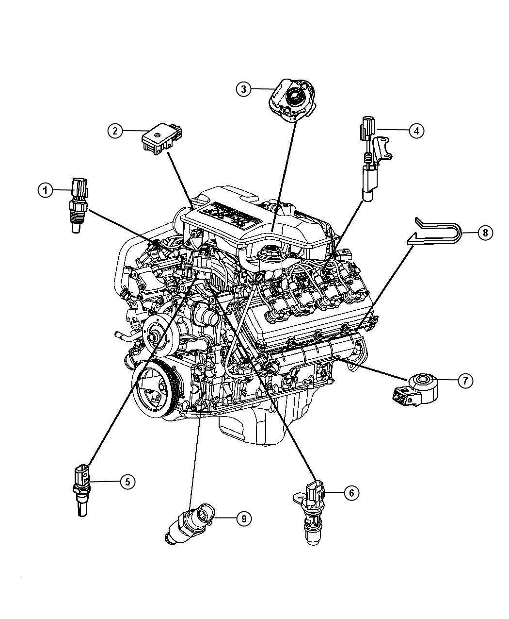 Chrysler Aspen Sensor. Knock. Engine, sensors, vvt