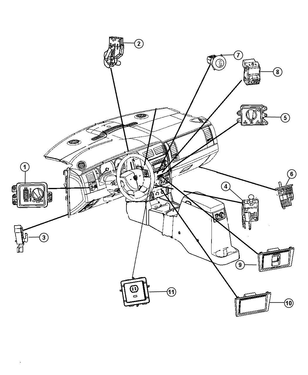 Chrysler Aspen Switch Ignition Column Steering Tilt