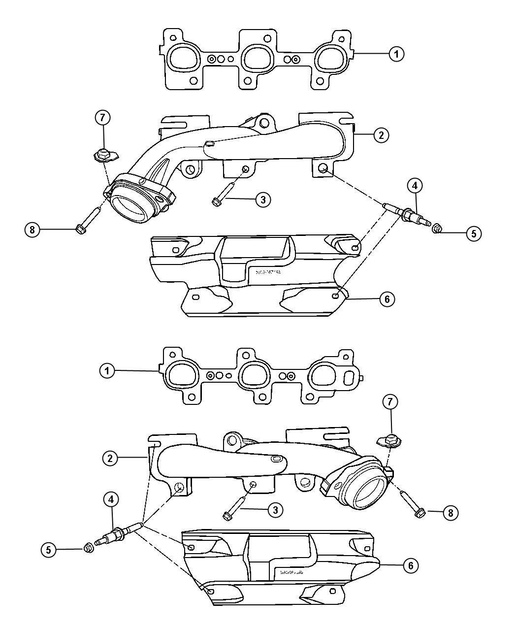 Dodge Dakota Manifold Exhaust Right Right Side Engine