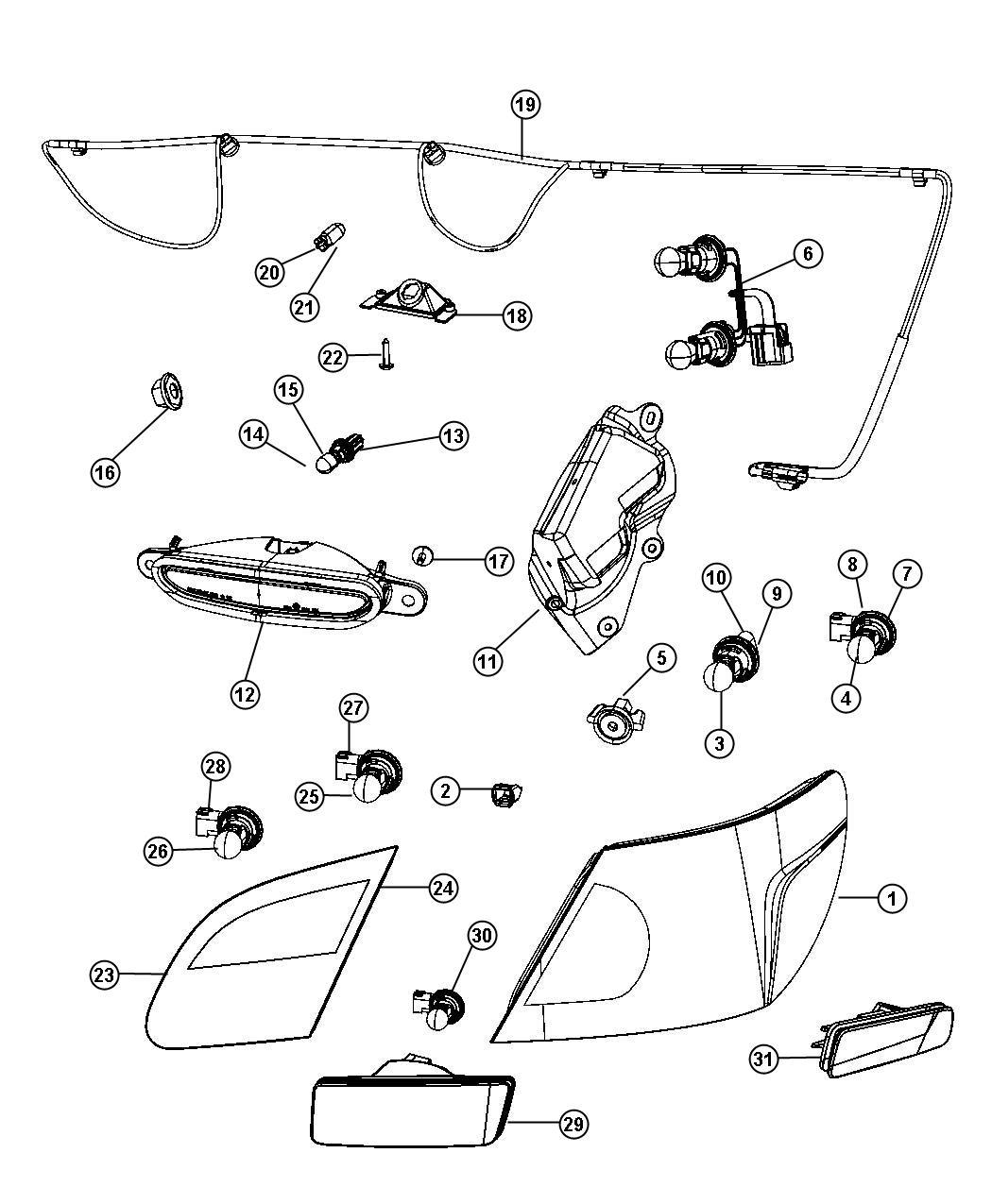 Dodge Avenger Wiring. License lamp. [rear fog lamps