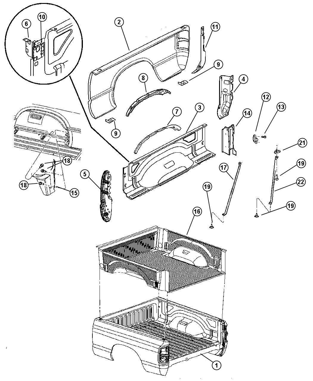 Dodge Ram 1500 Panel. Box side, box side inner. Right. 6.3