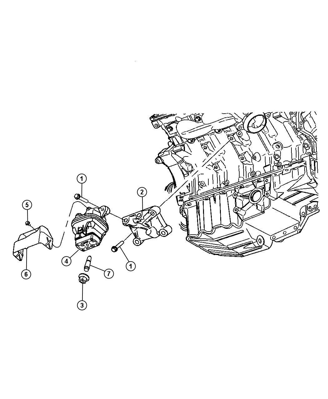 Dodge Charger Cushion. Engine support. Left, left side