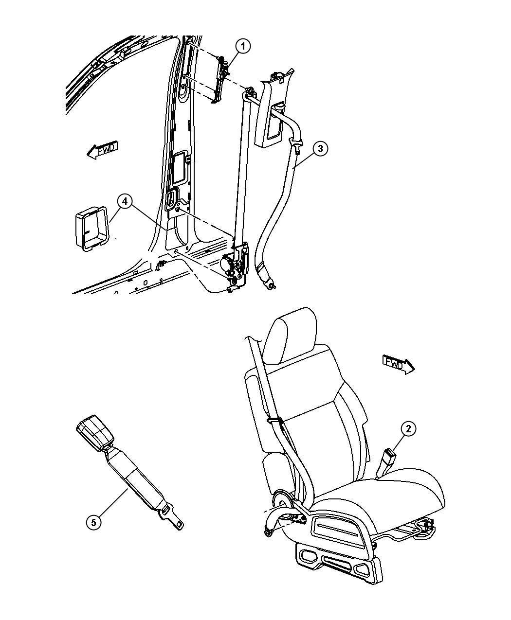 Dodge NITRO Adjuster. Seat belt turning loop. After 10/19