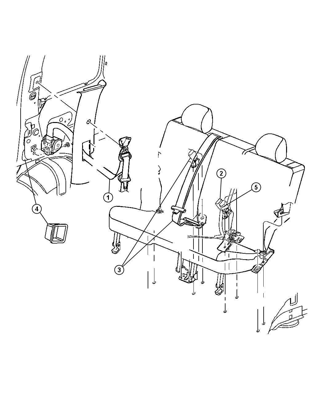 Dodge NITRO Seat belt. Rear outer. Right. [ka]. Trim: [all