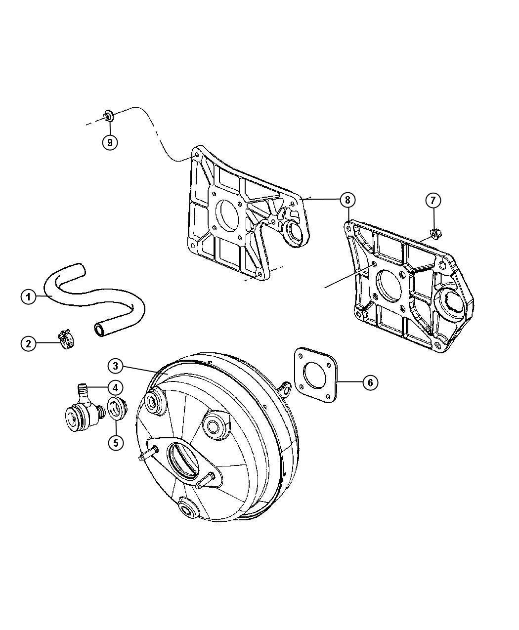 Jeep Wrangler Hose Brake Booster Vacuum