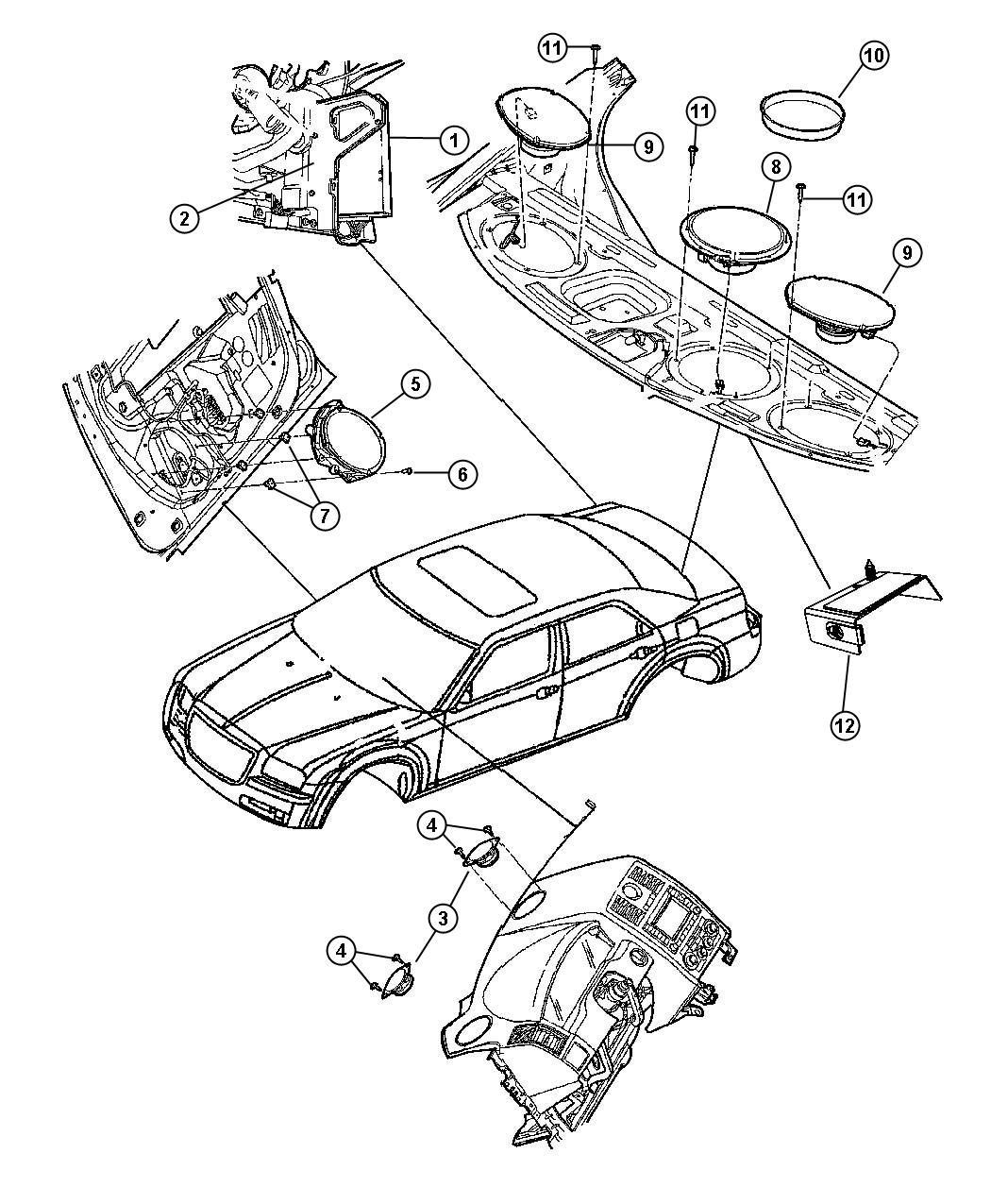 Chrysler 300 Speaker. Instrument panel. 3.5. Dash, used