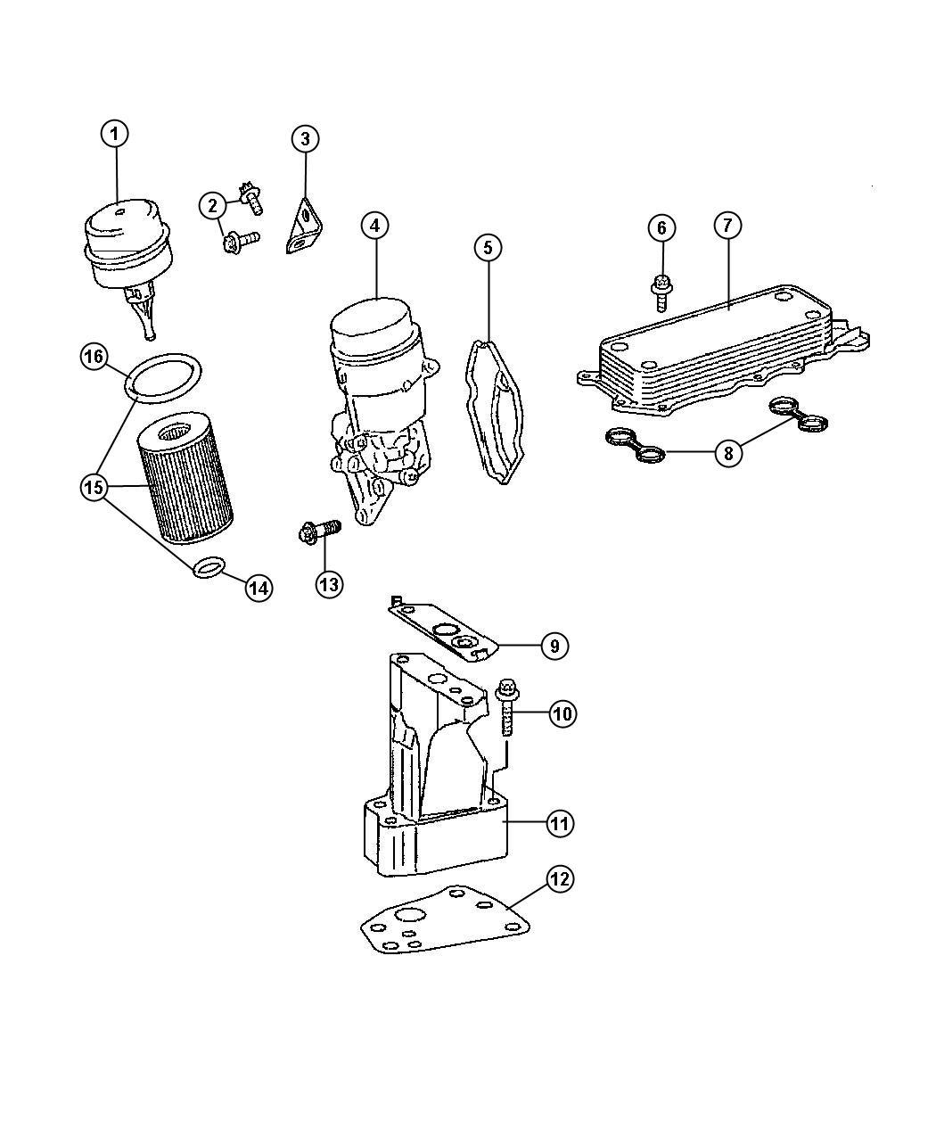 Jeep Grand Cherokee Housing. Oil filter. Engine, diesel