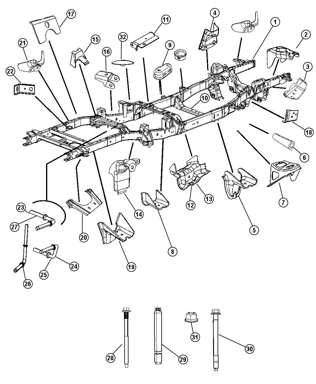 Dodge Ram 3500 Rod. Exhaust pipe support. Front muffler